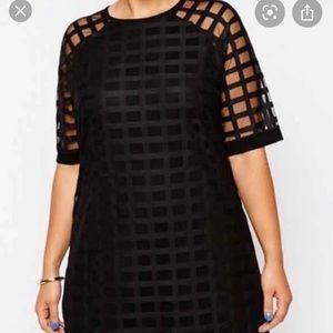 ASOS black grid mesh shift dress